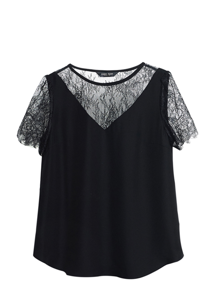 LACE TRIMED BLOUSE
